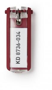 DURABLE KEY CLIP Schlüsselanhänger, Mit permanent sichtbarem Beschriftungsfeld, 1 Beutel = 6 Stück, Farbe: rot