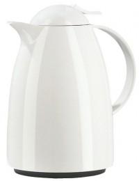 EMSA Isolierkanne Auberge mit Quick Tip Verschluss, Einzigartiger Aroma Diamond-Isolierkolben aus Glas, Fassungsvermögen: 1000 ml, Farbe: weiß