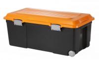 Rotho CAMPER Rollbox, 75 Liter, Aufbewahrungsbox mit Deckel, Maße: 800 x 400 x 320 mm, Farbe: orange / dunkelgrau