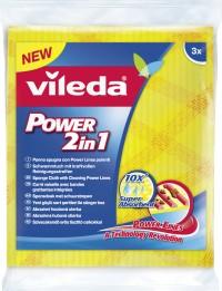 Vileda Power 2in1 Schwammtuch, Das neue innovative Vileda Power Schwammtuch, 1 Packung = 3 Stück