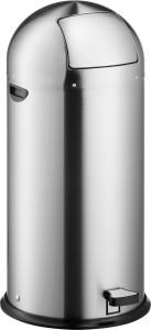 """helit Push-Edelstahl-Tretabfallbehälter """"the step dome"""", 52 Liter, Hochwertiger Edelstahl-Abfallbehälter mit Push-Einwurfklappe und Tretmechanik, Farbe: edelstahl"""
