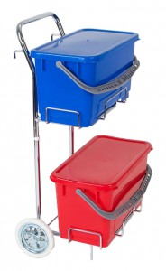 Floorstar Moppboxsystem-Wagen TD 22 SOLID - Kunststoff, verchromt, mit Top-Down-Prinzip, 2 x 22 Liter TopDown Eimer mit Deckel