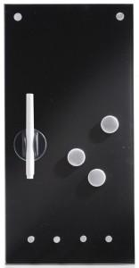 Zeller Memoboard Glas mit Haken, Als Magnettafel und Schlüsselboard nutzbar und komplett beschreibbar, Maße: 20 x 4 x 40 cm, Farbe: schwarz
