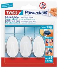 tesa Powerstrips® Haken Small Oval, Kleine, ovale Klebehaken halten Gegenstände bis zu 1 kg, 1 Packung = 3 Haken