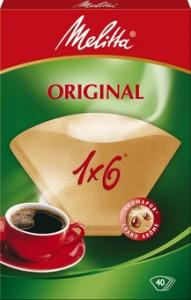Melitta Haushaltsprodukte GmbH & Co. KG Melitta Filtertüten 1x6/40, Kaffeefilter naturbraun, 1 Packung = 40 Stück 4006508123834