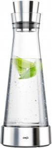 EMSA FLOW Slim Karaffe inkl. Kühlelement, Aus hochwertigem Design, Fassungsvermögen: 1 Liter, Edelstahl / Glas