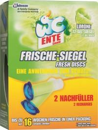 WC-Ente Frische-Siegel Nachfüllpack, Duftet bis zu 600 Spülungen, 2 Nachfüller = 12 Gel-Siegel, Limone