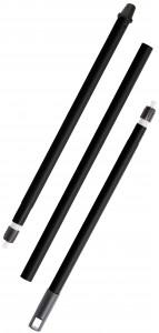"""Haug """"in-up"""" Besenstiel, 3-teilig, Stahlrohr schwarz lackiert, mit drehbarer Kappe, Länge: 1300 mm"""