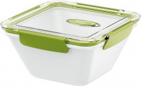 EMSA Bento Box - Lunchbox, quadratisch, Ideal für kleine Mahlzeiten außer Haus, Fassungsvermögen: 1500 ml, Farbe: weiß / grün