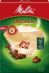 Melitta Haushaltsprodukte GmbH & Co. KG Melitta® Filtertüten 102/80 AROMA, naturbraun mit 3 Aromazonen, 1 Packung = 80 Stück 4006508206926