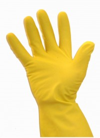 BINGOLD Mehrweghandschuhe Latex, Gummihandschuhe aus Naturkautschuklatex, gelb, mit Rollrand, 1 Karton = 200 Paar, Größe XL