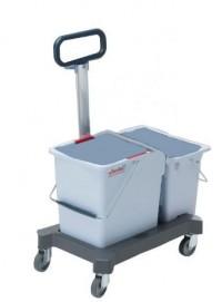 Vileda Doppelfahreimer mit Schiebebügel, Mit Schiebebügel und ergonomischem Griff, 2 x 25 Liter Eimer