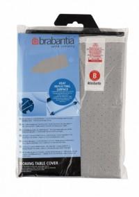Brabantia Bügeltischbezug B, Baumwolle, mit Metallbeschichtung und 2 mm Schaumstoff, 124 x 38 cm, Silver